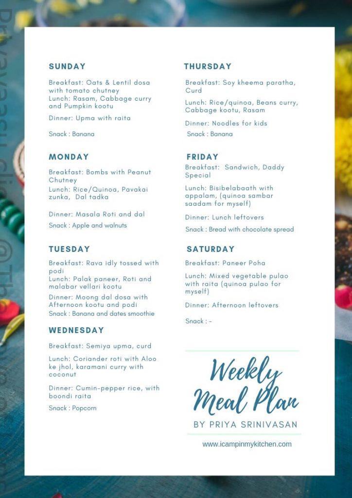 Vegan/Vegetarian meal plan