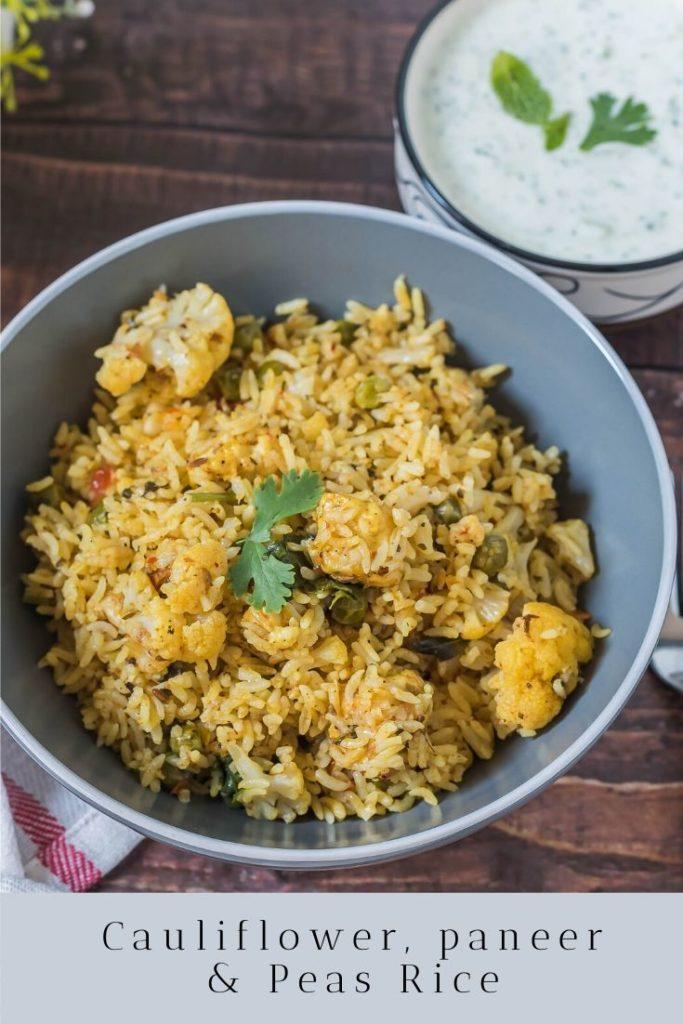 cauliflower peas and paneer rice
