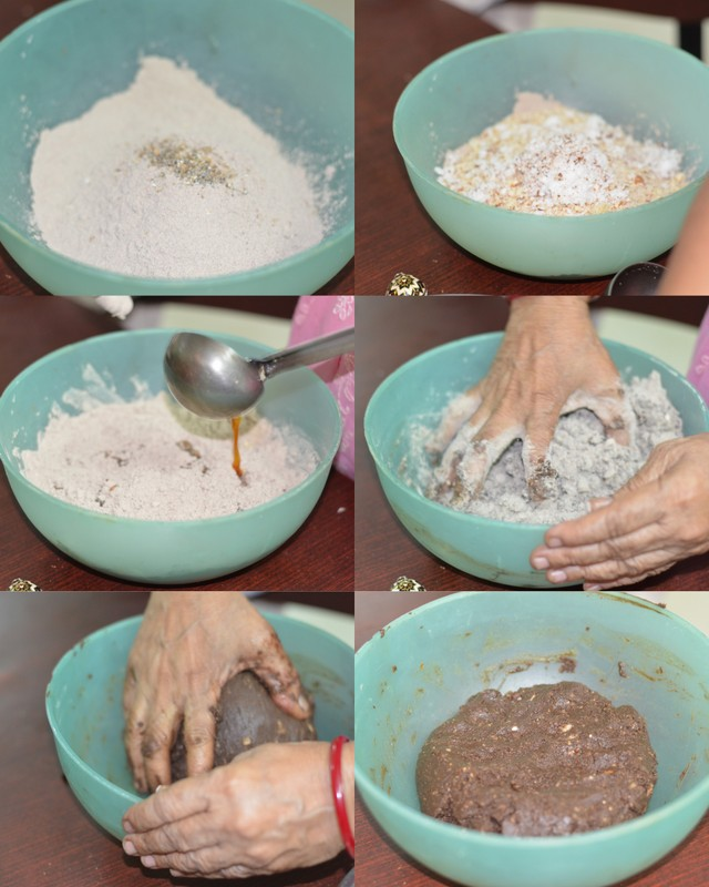 Making sweet ragi adai