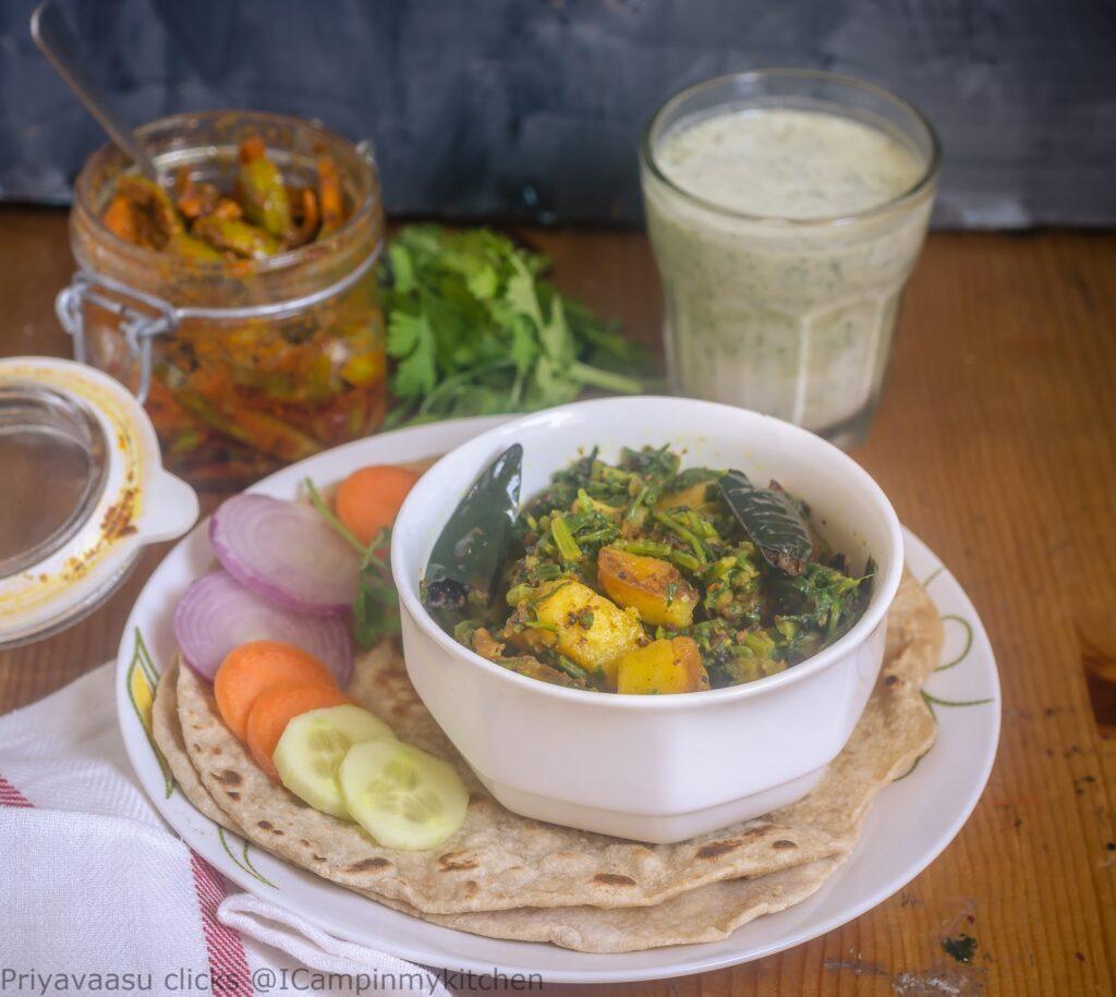 Aloo palak, Potato and spinach, Potato curry, Potato side-dish