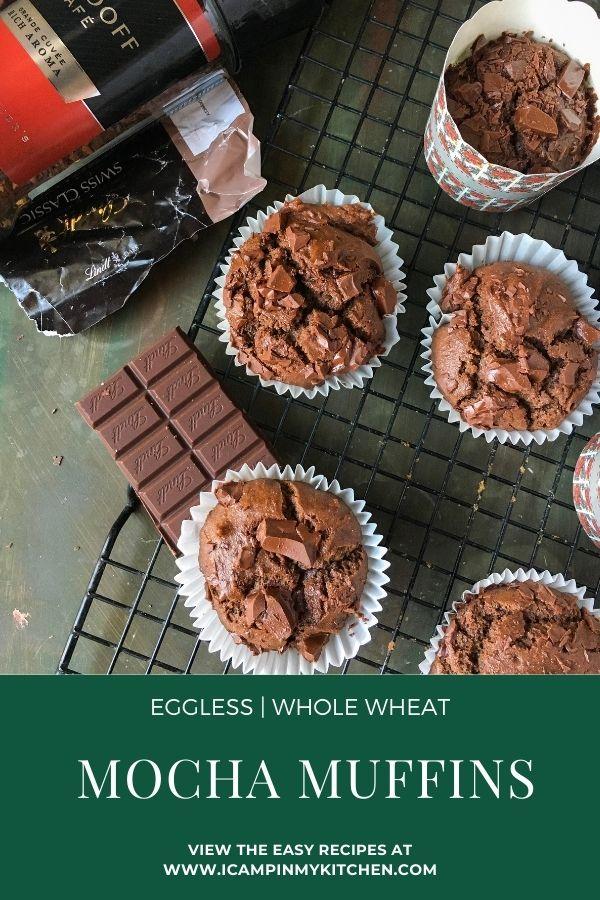 Eggless mocha muffins pin