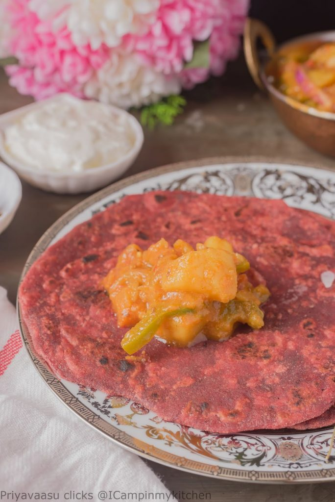 beets paratha with potato curry