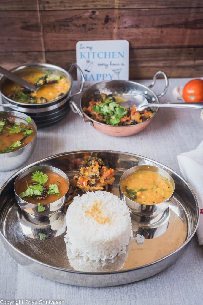 indian thali meal with dal, rice and subzi
