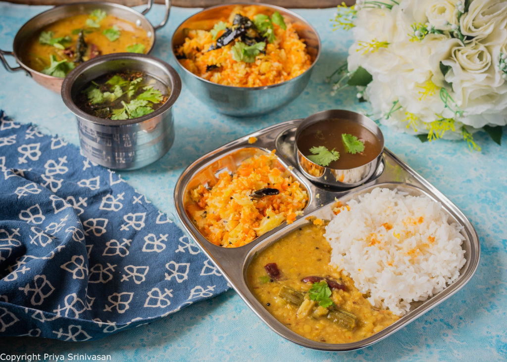 Indian thali with dal, rice