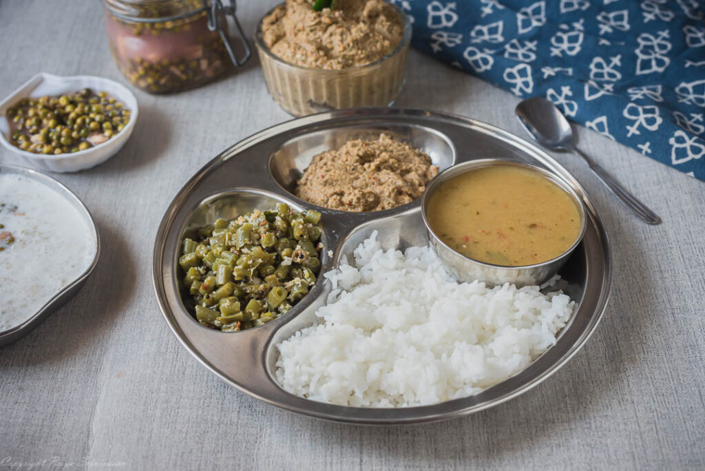 south-indian thali with thogayal and pickle
