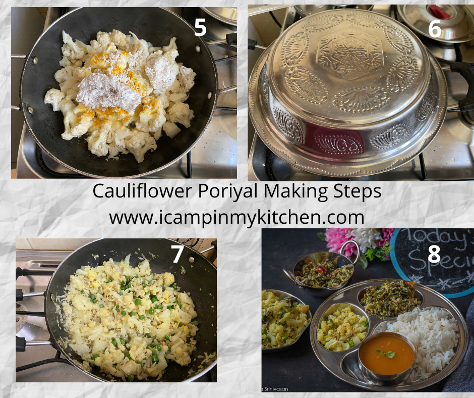Cauliflower poriyal making