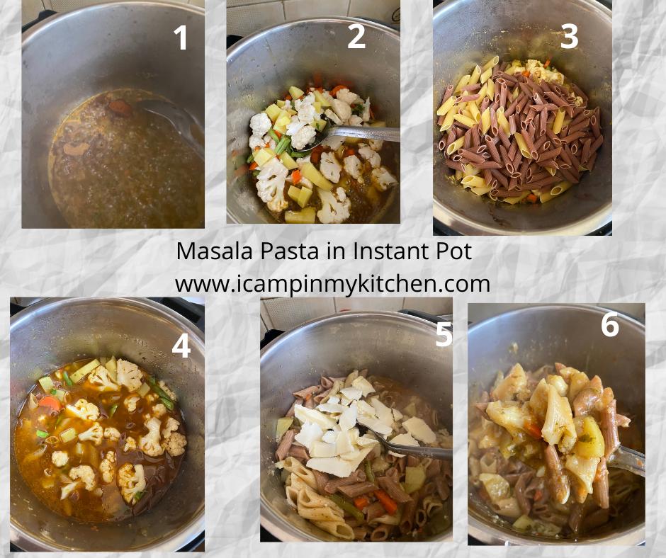 Masala pasta in IP making steps