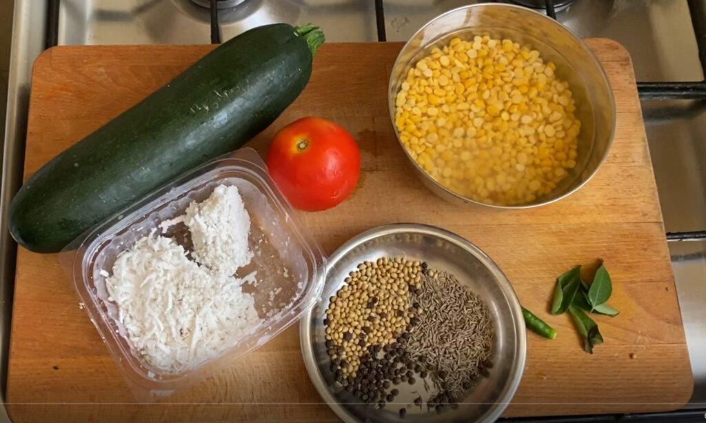 Ingredients for zucchini kootu