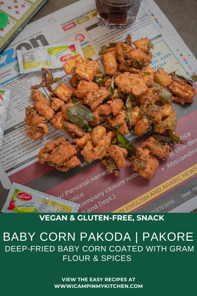 Baby corn pakode pin