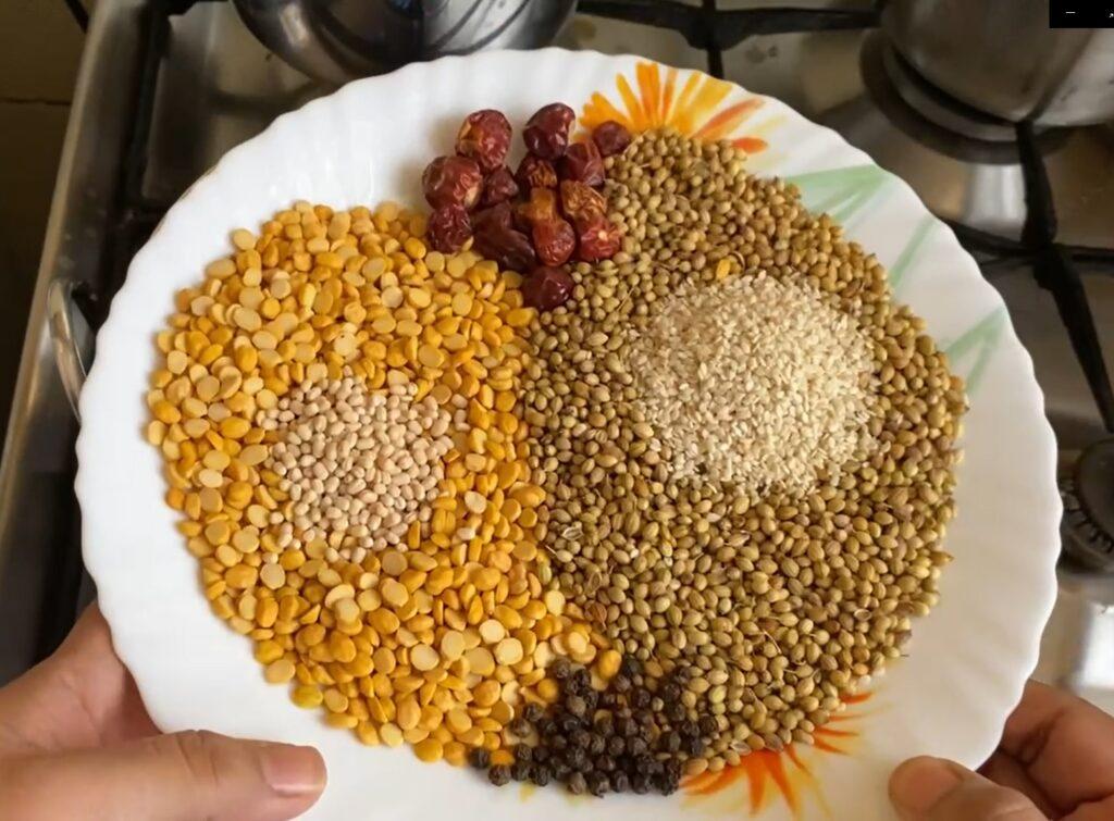 Sundal podi ingredients